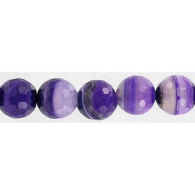 Semi-precious faceted beads, 16, purple agate with white lines