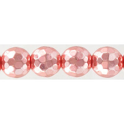 Semi-precious faceted beads, 10mm, approx. hole size 1-1.20mm, rose gold hematite, 16 inch strand