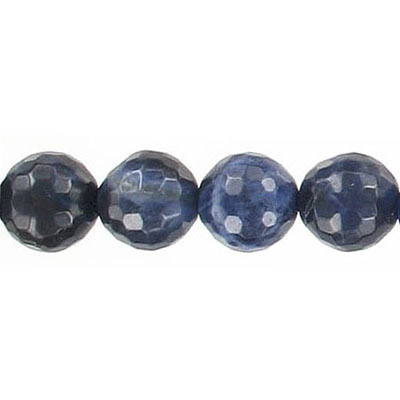 Semi-precious faceted beads, 10mm, sodalite, 16 inch strand