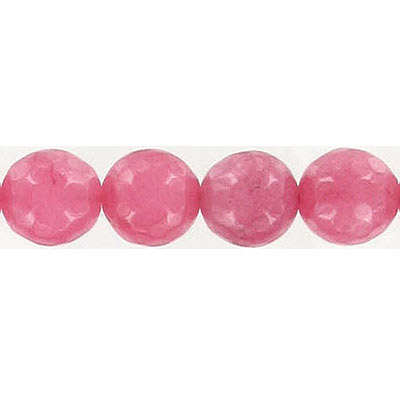 Semi-precious faceted beads, 10mm, strawberry jade, 16 inch strand