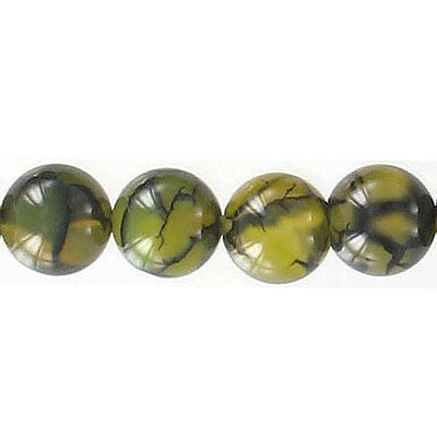 Semi-precious round beads, 10mm, cracked cornelian agate with black matrix, 16 inch strand