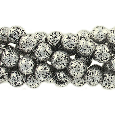 Semi-precious round beads, 10mm, black lava, steel tone electroplated, approx. hole size 1-1.20mm, 16 inch strand