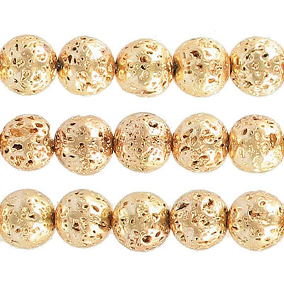 Semi-precious round beads, 10mm, gold plated lava, approx. hole size 1-1.20mm, 16 inch strand