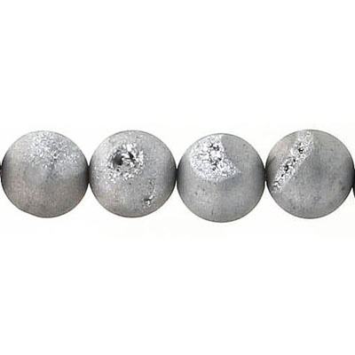 Semi-precious round beads, 10mm, metallic grey druzy quartz, 16 inch strand