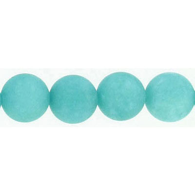 Semi-precious round beads, 10mm, matte teal jade (candy), 16 inch strand