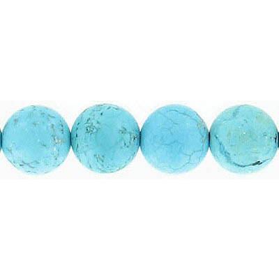 Semi-precious round beads, 10mm, matte turquoise, synthetic, 16 inch strand