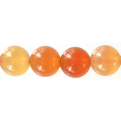 Semi-precious round beads, 10mm, cornelian, natural, 16 inch strand
