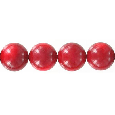 Semi-precious round beads, 10mm, red coral, 16 inch strand