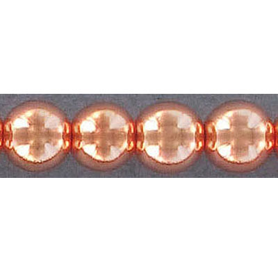 Semi-precious round beads, 10mm, hematite, rose gold, hole size approx. 1-1.20mm, 16 inch strand