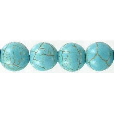 Semi-precious round beads, 16 strand, chinese reconstituted turquoise, 10mm