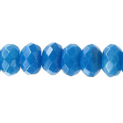 Semi-precious faceted beads, rondelle, turquoise new jade, 10mm, dyed, 16 inch strand