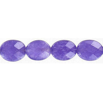 Semi-precious faceted beads, 10x8mm, oval, purple jade, 16 inch strand