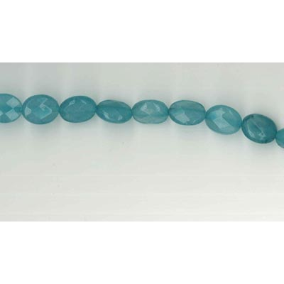 Semi-precious faceted beads, oval, 10x8mm, teal new jade, 16 inch strand