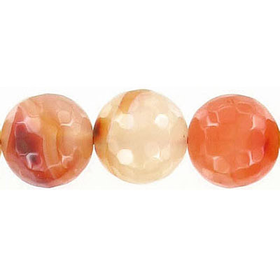 Semi-precious faceted beads, 12mm, cornelian, natural, 16 inch strand