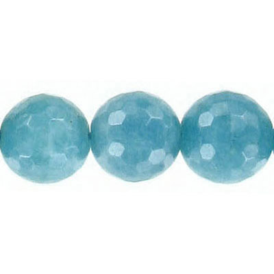 Semi-precious faceted beads, 12mm, teal jade, 16 inch strand