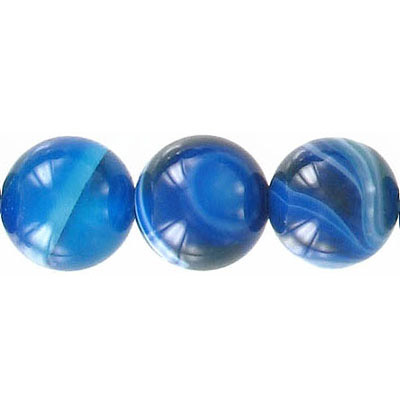 Semi-precious round beads, 12mm, blue agate with white lines, 16 inch strand