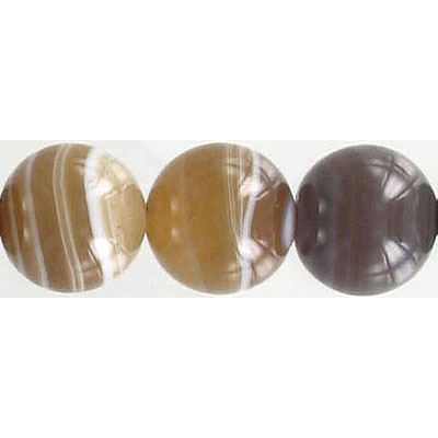 Semi-precious round beads, 12mm, brown and white agate, 16 inch strand
