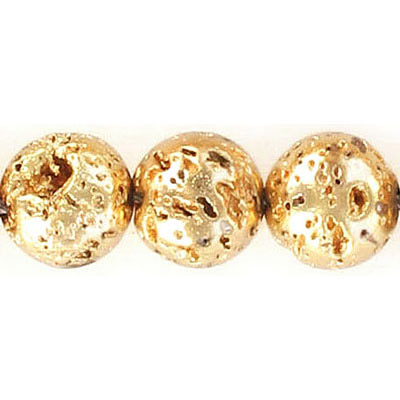 Semi-precious round beads, 12mm, gold plated lava, approx. hole size 1-1.20mm, 16 inch strand