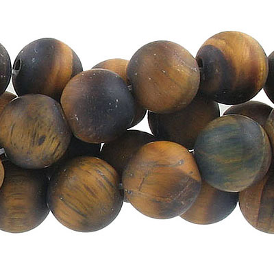Semi-precious round beads, 12mm, tiger's eye, matte, approx. hole size 1-1.20mm, 16 inch strand
