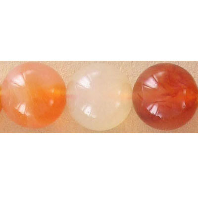 Semi-precious round beads, 12mm, cornelian, natural, 16 inch strand