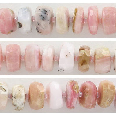 Semi-precious faceted beads, 12mm, rondelle, pink opal, approx. hole size 1mm, 16 inch strand