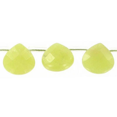 Semi-precious faceted beads, 12x12mm, flat briolette, olive jade, 16 inch strand