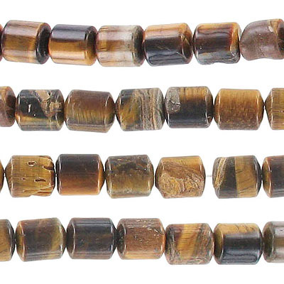 Semi-precious beads, 12x8mm, cylinder, tiger'e eye, approx.hole size 0.80-1mm, 16 inch strand