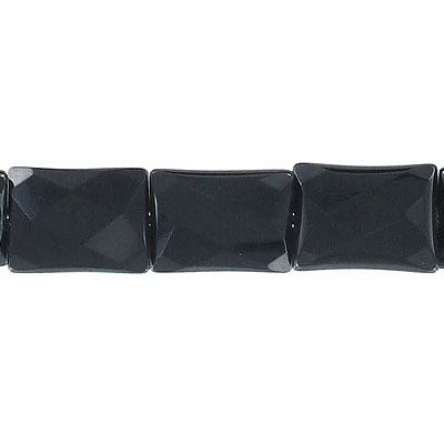 Semi-precious faceted beads, 13x18mm, rectangle, black onyx, 16 inch strand