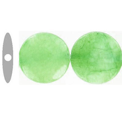 Semi-precious faceted beads, 14mm, disk, green jade, 16 inch strand