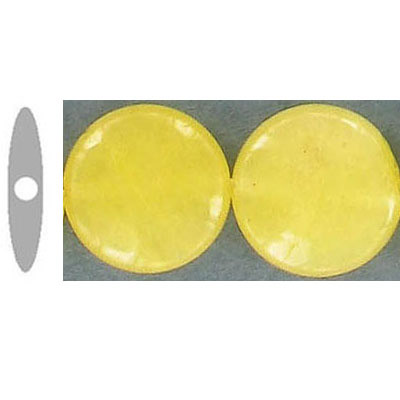 Semi-precious faceted beads, 14mm, disk, yellow jade, 16 inch strand