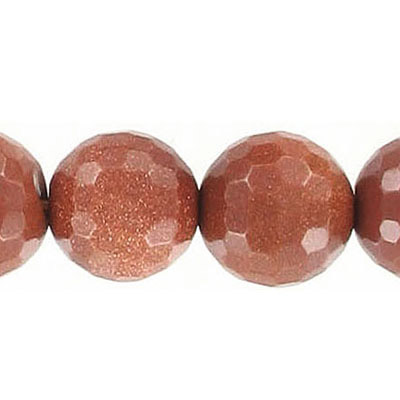 Semi-precious faceted beads, 14mm, round, goldstone, 16 inch strand