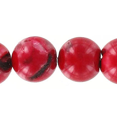 Semi-precious round beads, 14mm, red coral, approx. hole size 1.20-1.30mm, 16 inch strand