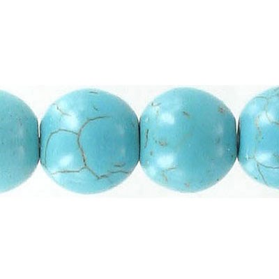 Semi-precious round beads, 14mm, turquoise howlite, 16 inch strand
