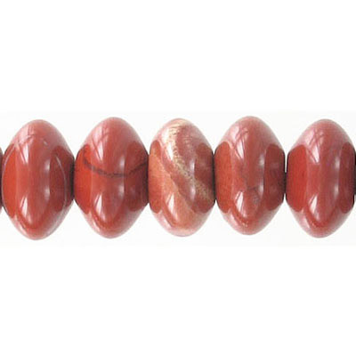 Semi-precious beads, 14mm, rondelle, red jasper, 16 inch strand