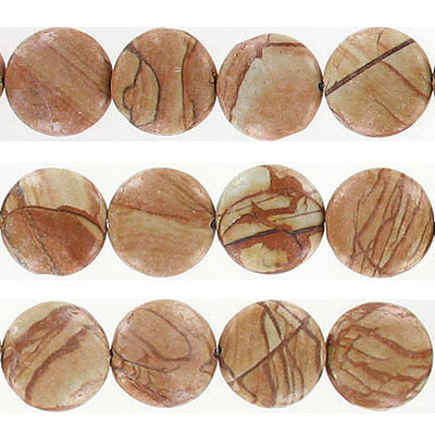 Semi-precious beads, 16mm, disk, gold lace agate, approx. hole size 1-1.20mm, 16 inch strand