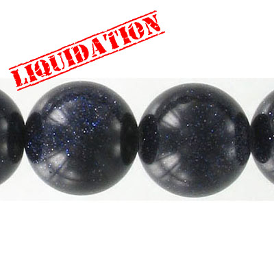 Semi-precious round beads, 16mm, blue goldstone, 16 inch strand