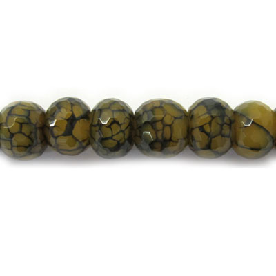 Semi-precious faceted beads, rondelle, cracked cornelian with black matrix, 16 inch strand