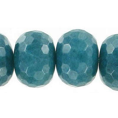 Semi-precious faceted beads, 16mm, rondelle, turquoise new jade, dyed, 16 inch strand