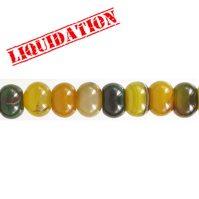 Semi-precious beads, 16mm, rondelle, green-yellow agate, 16 inch strand
