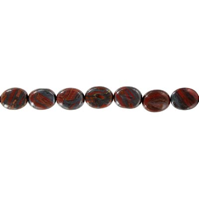 Semi-precious beads, 16x12mm, oval, tiger iron, 16 inch strand