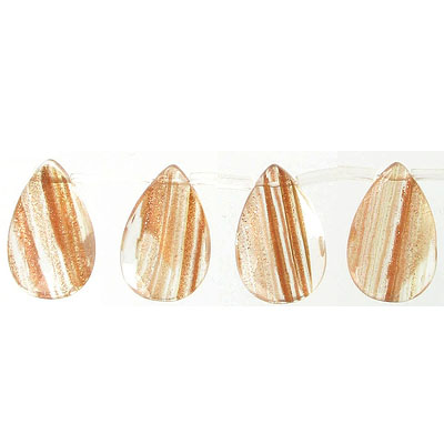 Semi-precious faceted beads, 16x25mm, briolette, gold rutilated quartz, synthetic, 16 inch strand
