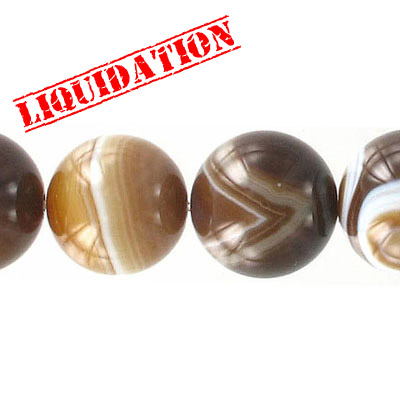 Semi-precious round beads, 16 strand, brown agate with white, 18mm