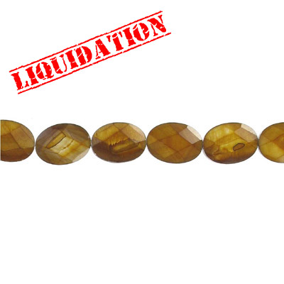 Semi-precious faceted beads, 18x13mm, oval, river shell, dyed
