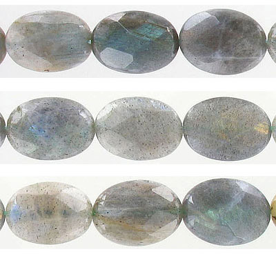 Semi-precious faceted beads, 18x13mm, oval, labradorite, approx. hole size 1mm, 16 inch strand