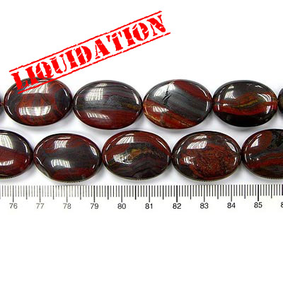 Semi-precious beads, 18x13mm, oval, Australian tiger iron, 16 inch strand