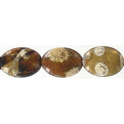Semi-precious beads, 18x13mm, oval, brown cracked agate, 16 inch strand
