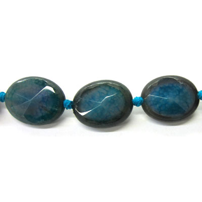 Semi-precious faceted beads, oval, 20x25mm, blue agate, 16 inch strand
