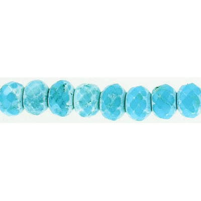 Semi-precious faceted beads, 10x7mm, turquoise, stabilized