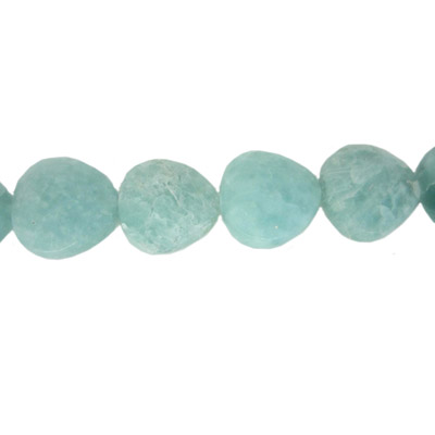 Semi-precious faceted beads, 20mm, rounded triangle, amazonite, 16 inch strand