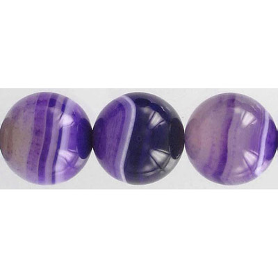 Semi-precious round beads, 16 strand, purple agate, 20mm